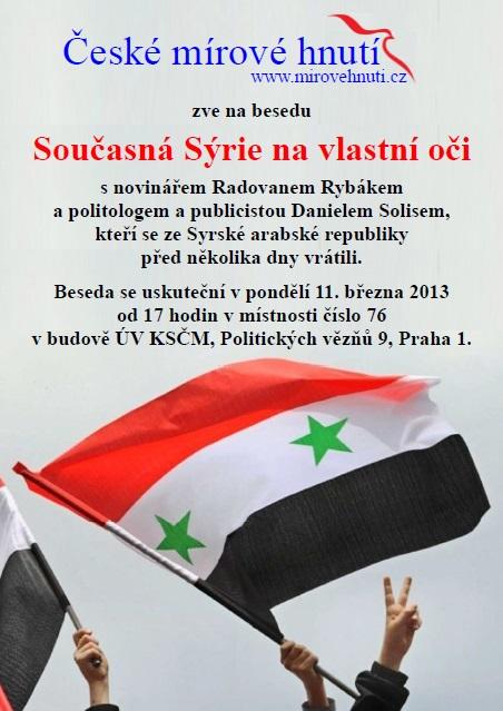 beseda o současné politické a ekonomické situaci v sýrii