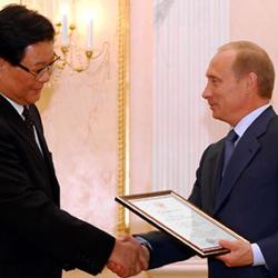 Vladimir Putin with Zhang Deguang