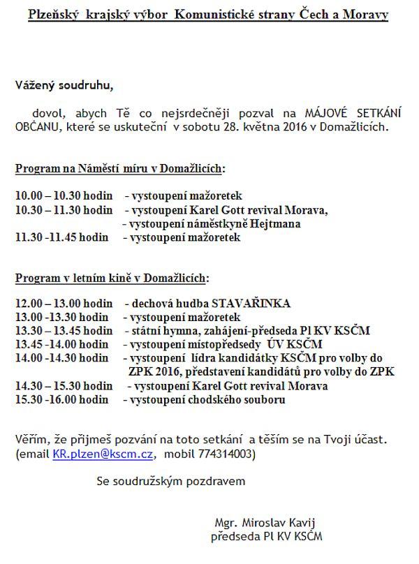 Pozvánka plzeňského KV